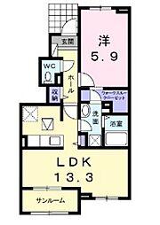 JR津山線 備前原駅 徒歩18分の賃貸アパート 1階1LDKの間取り