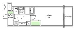 Osaka Metro堺筋線 堺筋本町駅 徒歩5分の賃貸マンション 12階1Kの間取り