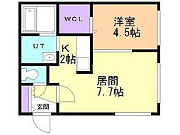 仮)澄川2-3B棟 1階1LDKの間取り
