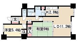 星ヶ丘スカイマンション[402号室]の間取り