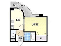 阪急千里線 千里山駅 徒歩8分の賃貸マンション 3階1DKの間取り