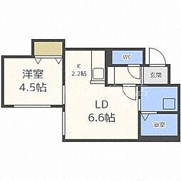 札幌市営南北線 北18条駅 徒歩4分の賃貸マンション 3階1LDKの間取り