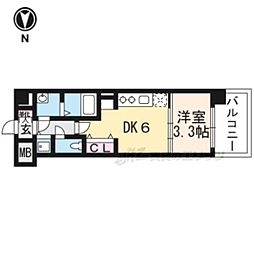 THE GARNET MILLENNIUM KYOTO九条烏丸404 4階1DKの間取り