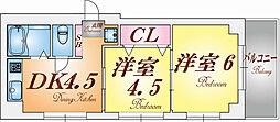 兵庫県神戸市中央区古湊通2丁目の賃貸マンションの間取り