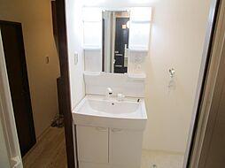 リフォーム済新設したハウステック製の洗面化粧台です。鏡の両サイドは収納物をササっと取り出せる棚です。整水とシャワーの切り替えもワンタッチでできますよ。