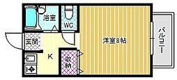 近鉄南大阪線 古市駅 徒歩25分の賃貸アパート 1階1Kの間取り