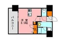 仮称)LANDIC 美野島3丁目 6階ワンルームの間取り