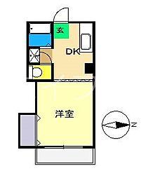 リバープール桟一[3階]の間取り