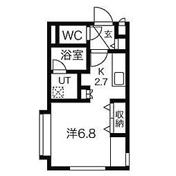 札幌市営東西線 西11丁目駅 徒歩9分の賃貸マンション 4階1Kの間取り