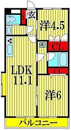 ウエストマンション北越谷[3階]の間取り