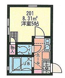 神奈川県横浜市神奈川区白幡東町の賃貸アパートの間取り