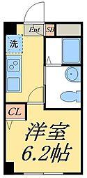 京成押上線 四ツ木駅 徒歩10分の賃貸マンション 3階1Kの間取り