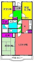 フロイデ勝田台壱番館[201号室]の間取り