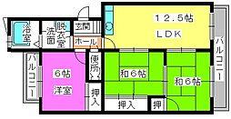 福岡県福岡市南区若久1丁目の賃貸マンションの間取り