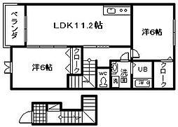 大阪府岸和田市畑町の賃貸アパートの間取り