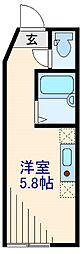 東急東横線 菊名駅 徒歩9分の賃貸アパート 1階ワンルームの間取り