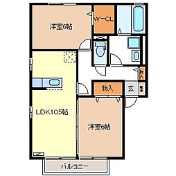 クレール三本柳B棟[2階]の間取り