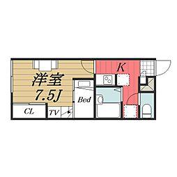 JR成田線 成田空港駅 バス16分 三里塚下車 徒歩8分の賃貸アパート 1階1Kの間取り
