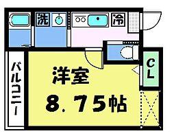 フラッティ京都西陣 3階1Kの間取り