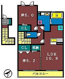 ベルデュール 5番館[203号室]の間取り