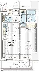 エステムコート大阪新町 13階1DKの間取り