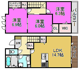 [テラスハウス] 大阪府堺市北区百舌鳥赤畑町2丁 の賃貸【/】の間取り