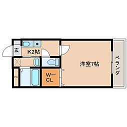 奈良県奈良市四条大路の賃貸マンションの間取り