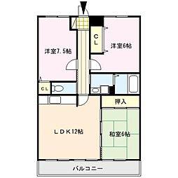 福岡県久留米市野中町の賃貸マンションの間取り