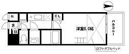 EARTHMANS OSAKA-JO 9階1Kの間取り