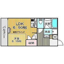 愛知県名古屋市中川区八熊通6丁目の賃貸マンション 2階1DKの間取り