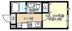 ベイルーム東白楽[104号室号室]の間取り