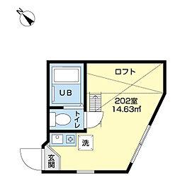 ユナイト七島パンナロード 2階ワンルームの間取り
