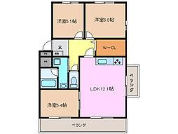 三重県鈴鹿市稲生塩屋3丁目の賃貸マンションの間取り