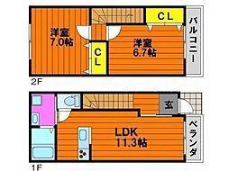 岡山電気軌道東山本線 東山・おかでんミュージアム駅駅 5.8kmの賃貸テラスハウス 1階2LDKの間取り