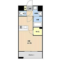 LIBTH(リブス)平尾II 13階ワンルームの間取り