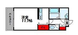 エスポアールOGAWAII 1階ワンルームの間取り