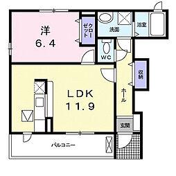 小田急小田原線 柿生駅 徒歩23分の賃貸アパート 1階1LDKの間取り