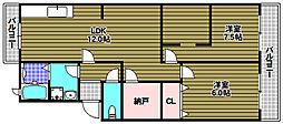 安田マンション 3階2LDKの間取り