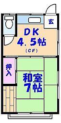 千賀荘[103号室]の間取り