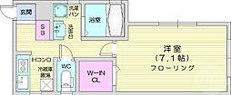 仙台市地下鉄東西線 大町西公園駅 徒歩7分の賃貸アパート 1階1Kの間取り
