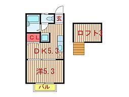千葉県船橋市芝山6丁目の賃貸アパートの間取り