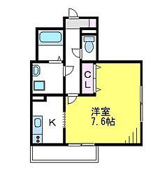 JR中央線 武蔵境駅 徒歩12分の賃貸マンション 2階1Kの間取り