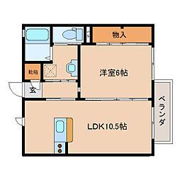 京都府木津川市梅美台の賃貸アパートの間取り