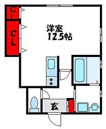 JR鹿児島本線 教育大前駅 徒歩5分の賃貸アパート 1階ワンルームの間取り