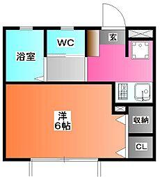 東京都北区浮間4の賃貸アパートの間取り