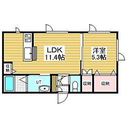 仮)拓勇西町新築AP 2階1LDKの間取り