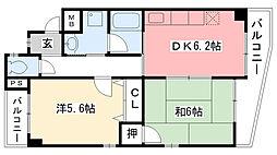 兵庫県西宮市小松北町2丁目の賃貸マンションの間取り