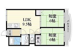 大成ビル 6階2DKの間取り