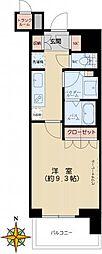 文京ガーデンザサウス 14階1Kの間取り