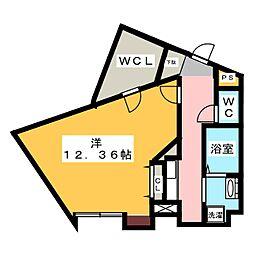 ヒルサイド三ッ沢南町 2階1Kの間取り